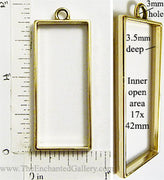 Open Back Long Rectangle Frame 17mm x 42mm x 3.5mm Goldtone