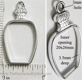 Open Back Perfume Bottle Frame 20mm x 26mm x 3.5mm Silvertone