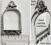 Open Back Small Bird Cage Frame 16mm x 20mm x 3mm Silvertone