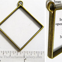 Open Back Diamond Oriented Square 29x29x3mm Bronzetone