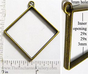 Open Back Diamond Oriented Square 29mm x 29mm x 3mm Bronzetone