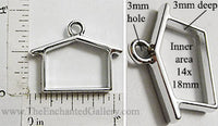 Open Back House Frame 14mm x 18mm x 3mm Silvertone