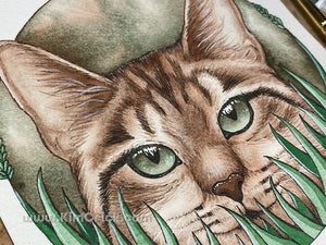 Original Art - Watercolor Painting Cat in Grass Using Schmincke Tundra Green (5x7 Not a Print)
