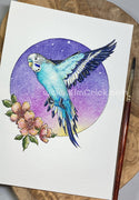 Original Art - Watercolor Painting Teal Parakeet Budgie Bird Featuring Winsor & Newton Granulating Pigments (5x7 Not a Print)