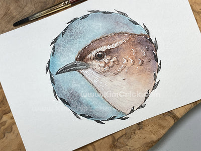 Original Art - Watercolor Painting Wren Bird Featuring Schmincke Super Granulating Colors Glacier Green (4x6 Not a Print)