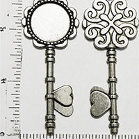 20mm Circle Pendant Tray Ornate Heart Key Antiqued Silver (Select Optional Insert)