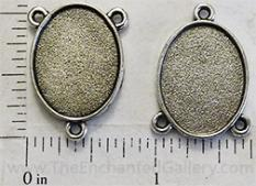 17x22x1mm Small Oval Tray with Tri-Connector Loops Antiqued Silvertone
