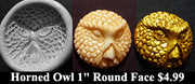 Flexible Push Mold Horned Owl Round Face