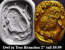 Flexible Push Mold Owl in Tree Branches