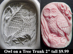 Flexible Push Mold Owl on a Tree Trunk