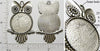 25mm Circle Pendant Tray Figural Owl Shape Textured Back Antiqued Silver (Select Optional Insert)