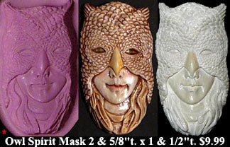 Flexible Push Mold Large Owl Spirit Mask