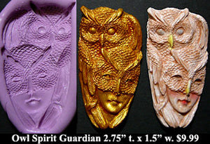 Flexible Push Mold Masked Owl Spirit with Guardian