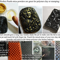 Polymer Clay jewelry and rubber stamping with mica powder finish gold effect