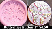 Flexible Push Mold Vintage Tri-Butterflies Button