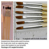 Angled Paint Brush Pack of 6 Iced Enamels Brand Cheap For Tough Jobs Like Resin and Glue