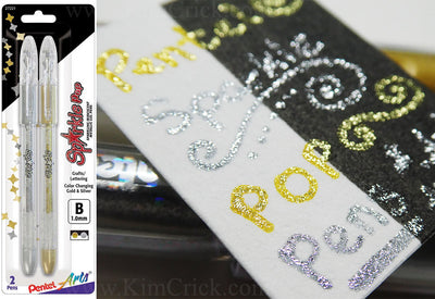 Pentel Sparkle Pop Gold and Silver Metallic Glitter Gel Pens