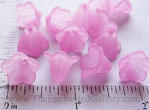 Frosted Translucent Pink Acrylic Flowers 14mm (20 Pack)