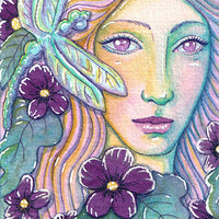 Kimberly Crick artist trading card watercolor painting artwork fairy elf dragonfly