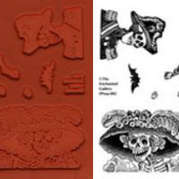 Unmounted Rubber Stamp Set Day of the Dead #Posa-002