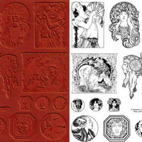 Unmounted Rubber Stamp Set Art Nouveau #Nouv-103