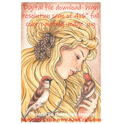 Digi-stamp Adult coloring book clip art bird sparrow Rapunzel watercolor painting Daniel Smith color