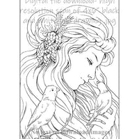 Adult coloring book clip art bird sparrow Rapunzel line art black and white and watercolor painting