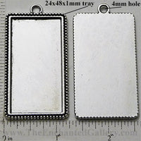 24x48x1mm Rectangle with Dotted Edge Pendant Tray Silvertone