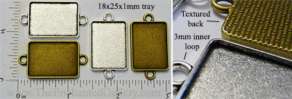 18x25mm Rectangle Pendant Tray with Two Connector Link Loops (Select a Color or Optional Insert)