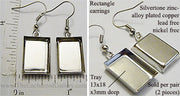 Pair of Silvertone Alloy Plated Copper Rectangle Earring Blanks (Select Amount)