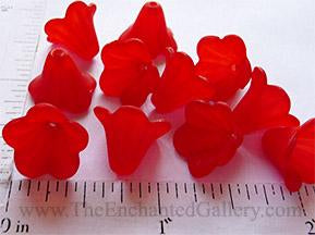 Frosted Translucent Red Acrylic Flowers 14mm (20 Pack)