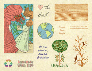 Unmounted Rubber Stamp Set Eco-Friendly Nature Fantasy Art  #Recy-006