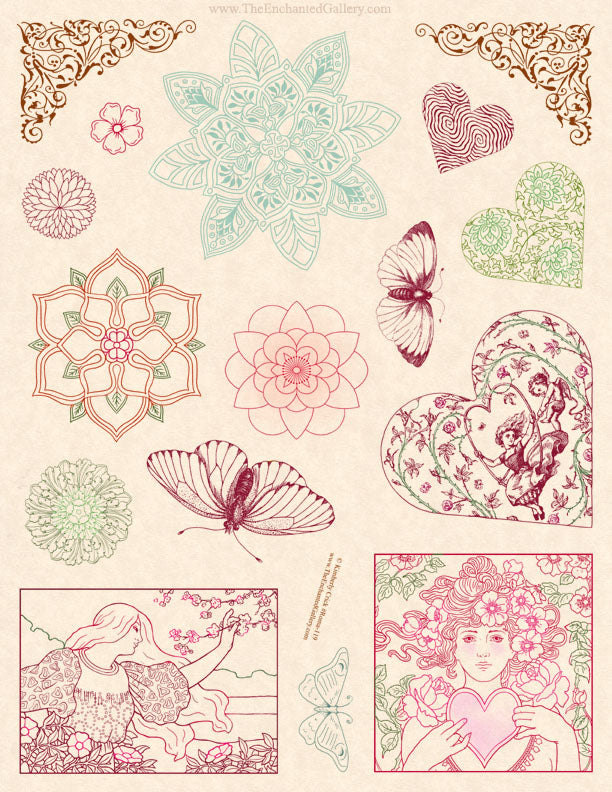 Unmounted Rubber Stamp Set Romantic Valentines #Roma-119
