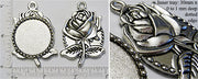 30mm Circle Dotted Pendant Tray Figural Rose Back Antiqued Silver (Select Amount & Optional Insert)