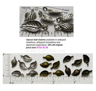 Small Curved Saucer Leaf Metal Charms Fifty Pack (Select A Color)