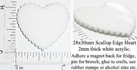 Laser Cut Acrylic White 28mm x 30mm Heart Scallop Edge 5 Pack