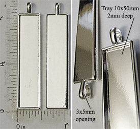 10x50x2mm Long Rectangle Pendant Tray Shiny Silvertone