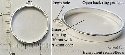 Open Back Thin Ring Frame 30x4mm Shiny Silvertone