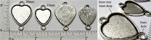 Heart Connector Tray with Two Loops Antiqued Silver (Select a Size)