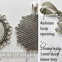 25mm Circle Pendant Tray Daisy Ring Half Flower Head Border Antiqued Silver (Select Optional Insert)