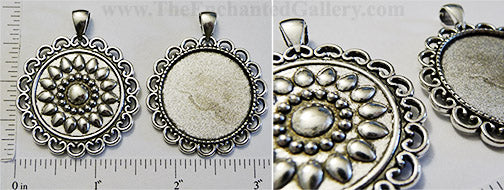 30mm Circle Pendant Tray Raised Doily Mandala Back Antiqued Silver (Select Amount & Optional Insert)
