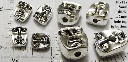 Face Head Beads Reversible 10x12x8mm Silvertone
