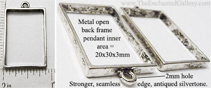 Open Back Rectangle Seamless Frame 20mm x 30mm x 3mm Antiqued Silvertone