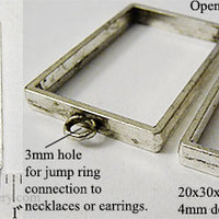 Open Back Rectangle Frame 20mm x 30mm x 4mm Antiqued Silvertone