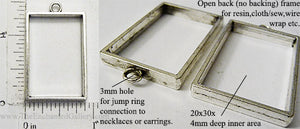 Open Back Rectangle Frame 20x30x4mm Antiqued Silvertone