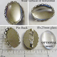 Silvertone Openwork Fold Border Pin Back 18x25mm Oval Tray Brooch