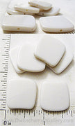White Acrylic Small Curved Square Beads 20mm x 20mm x 3mm