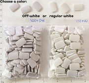 "BULK SALE - Small 12mm x 18mm x 3mm Curved Rectangle Beads for DIY About 100 pieces 3""x4"" bag (Choose Off-White or Regular White)"