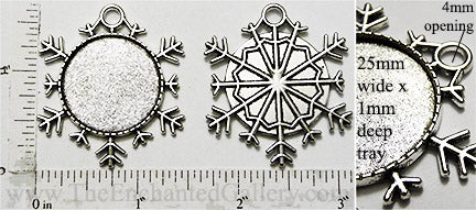 25mm Circle Pendant Tray Snowflake Shape Solid Tray Antiqued Silver (Select Optional Insert)