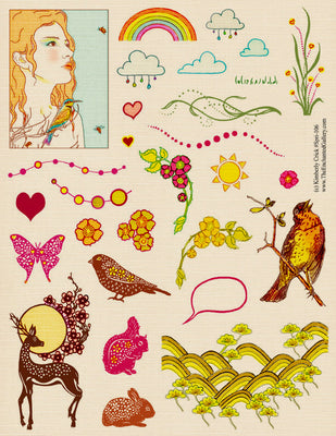 Unmounted Rubber Stamp Set Spring Season #Spri-106